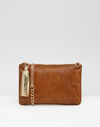 Urbancode Leather Pony Detail Clutch Bag With Optional Shoulder Strap Br1 Brown 1