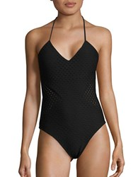 Shoshanna One Piece Jet Sheer Paneled Swimsuit Black
