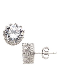 Lord And Taylor Sterling Silver And Cubic Zirconia Crown Stud Earrings