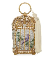 Judith Leiber Birdcage Crystal Beaded Tassel Clutch Bag Gold