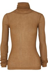 Bottega Veneta Ribbed Cotton Blend Turtleneck Sweater Camel