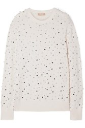Michael Kors Collection Faux Pearl And Crystal Embellished Cashmere Sweater Ivory