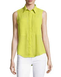 Max Studio Patch Front Sleeveless Blouse Citron