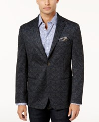 Tallia Men's Slim Fit Navy And Gray Pattern Sport Coat Blue