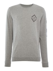 Jack And Jones Graphic Crew Neck Sweatshirt Light Grey Marl