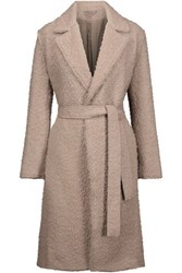 Helmut Lang Belted Boucle Aplaca And Wool Blend Coat Beige