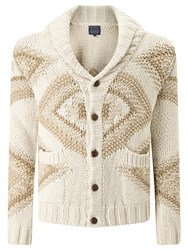John Lewis And Co. Jacquard Cotton Shawl Collar Cardigan Multi