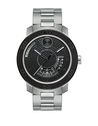 Movado Stainless Steel And Lse Bracelet Watch Silver Black