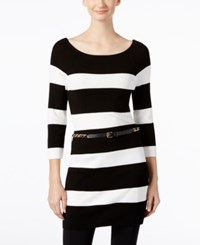 Inc International Concepts Striped Tunic Sweater Only At Macy's Black White