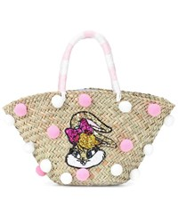 Monnalisa Embellished Woven Straw Tote Pink