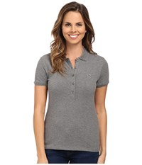 Lacoste Short Sleeve Slim Fit Stretch Pique Polo Shirt Stone Grey Women's Short Sleeve Knit Gray