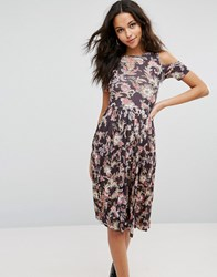 Asos Midi Skater Dress With Pleated Skirt In Paisley Print Paisley Print Multi
