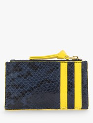 Boden Snake Print Leather Coin And Card Holder Navy Yellow