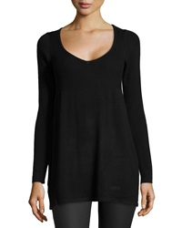 Bcbgmaxazria Babydoll Mixed Knit Tunic Black