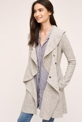 Anthropologie Ruffled Wool Sweater Coat Light Grey