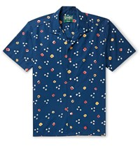 Gitman Brothers Vintage Camp Collar Printed Cotton Poplin Shirt Blue