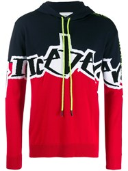 Iceberg Logo Intarsia Knitted Hoodie Red
