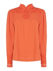 Biba Lace Detail Victorina Blouse Orange