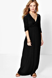 Boohoo Zoe Wrap Front 3 4 Sleeve Maxi Dress Black