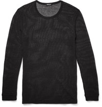 Balmain Slim Fit Knitted Cotton And Linen Blend Mesh T Shirt Black