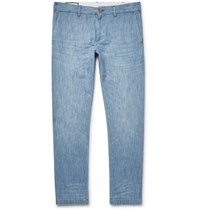 Gucci Cropped Slim Fit Embroidered Cotton Chambray Trousers Blue