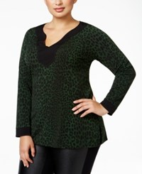 Michael Kors Plus Size Animal Print Tunic Green