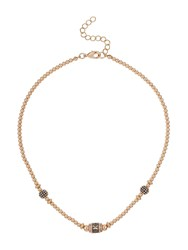 Mikey Bagette Bead And Cubic Bead Necklace Black