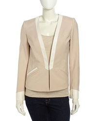 Catherine Catherine Malandrino Faux Leather Contrast Jacket Buff Brown