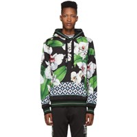 Dolce And Gabbana Black Multicolor Orchid Print Hoodie