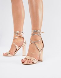 True Decadence Rose Gold Ankle Tie Block Heeled Sandals Rose Gold