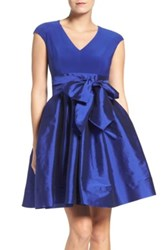 Adrianna Papell Jersey And Taffeta Fit And Flare Dress Regular And Petite Blue