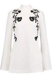 Cinq A Sept Open Back Embroidered Crepe Tunic Ivory