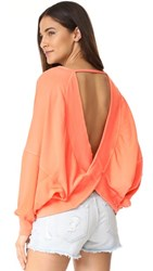 Free People Back It Up Pullover Coral