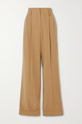 Michael Kors Collection Pleated Wool Straight Leg Pants Beige