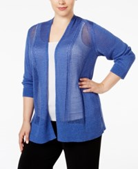 Alfani Plus Size Multi Stitch Textured Cardigan Only At Macy's Alf Pery Blue