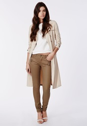 Missguided Tan Low Rise Zip Detail Skinny Jeans Tan