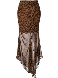 Nicholas Draped Asymmetric Skirt Brown