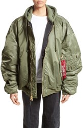 Vetements Women's Oversized Reversible Bomber Jacket Green Black