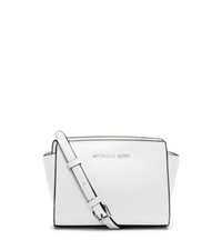 Michael Kors Selma Saffiano Leather Mini Messenger Optic White