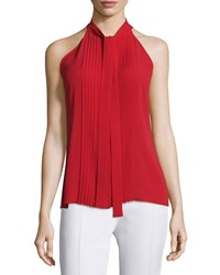 Michael Kors Collection Tie Neck Pleated Front Sleeveless Top Crimson Women's Size 8