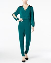Thalia Sodi Faux Leather Trim Jumpsuit Only At Macy's Dark Forest