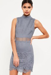 Missguided Blue High Neck Lace Sleeveless Embroidered Bodycon Dress