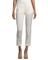 Cnc Costume National Slim Leg Cropped Trousers Cream Ivory Women's