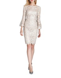Teri Jon Champ Floral Lace Sheath Dress Champagne