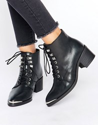 Pieces Derta Lace Up Mid Heeled Ankle Boots Black Leather