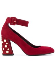 Stuart Weitzman Pearl Embellished Pumps Leather Suede Red