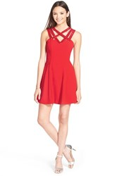 Junior Women's A. Drea Beaded Strap Fit And Flare Dress