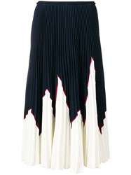 Red Valentino Colour Block Pleated Skirt Blue