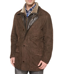 Peter Millar Telluride Double Layer Shearling Fur Jacket Brown