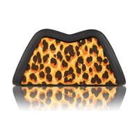Feather M Tuesday Clutch Yellow Leopard Yellow Orange